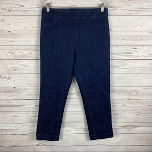 Soft Surroundings dark super stretch capri jeans